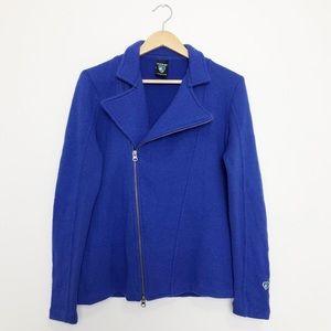 Kuhl Cobalt Blue Merino Wool Moto Style Zip Front Sweater Jacket Large
